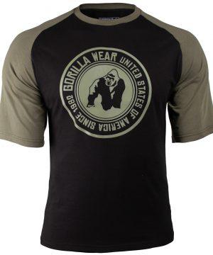 Fitness Shirt Heren Zwart_Groen - Gorilla Wear Texas-1