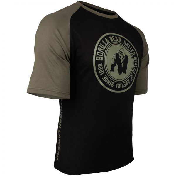 Fitness Shirt Heren Zwart_Groen - Gorilla Wear Texas-3