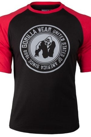 Fitness Shirt Heren Zwart_Rood - Gorilla Wear Texas-1
