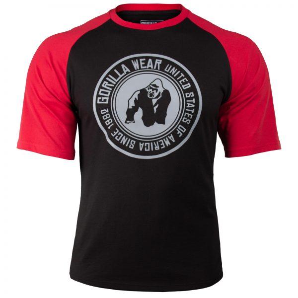 Fitness Shirt Heren Zwart_Rood - Gorilla Wear Texas-1