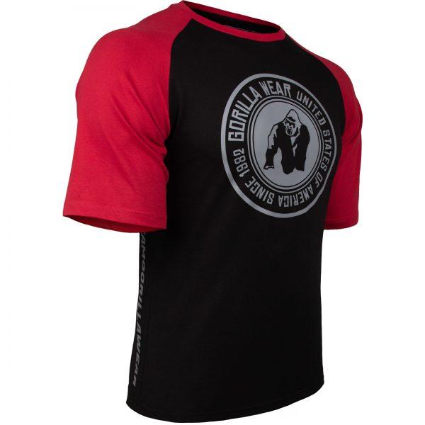 Fitness Shirt Heren Zwart_Rood - Gorilla Wear Texas-3
