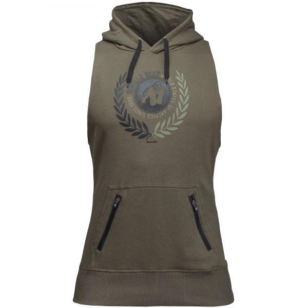 Fitness Sleeveless Hoodie Groen - Gorilla Wear Manti-3