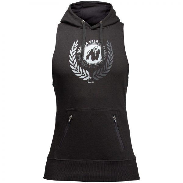 Fitness Sleeveless Hoodie Zwart - Gorilla Wear Manti-1