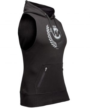 Fitness Sleeveless Hoodie Zwart - Gorilla Wear Manti-2