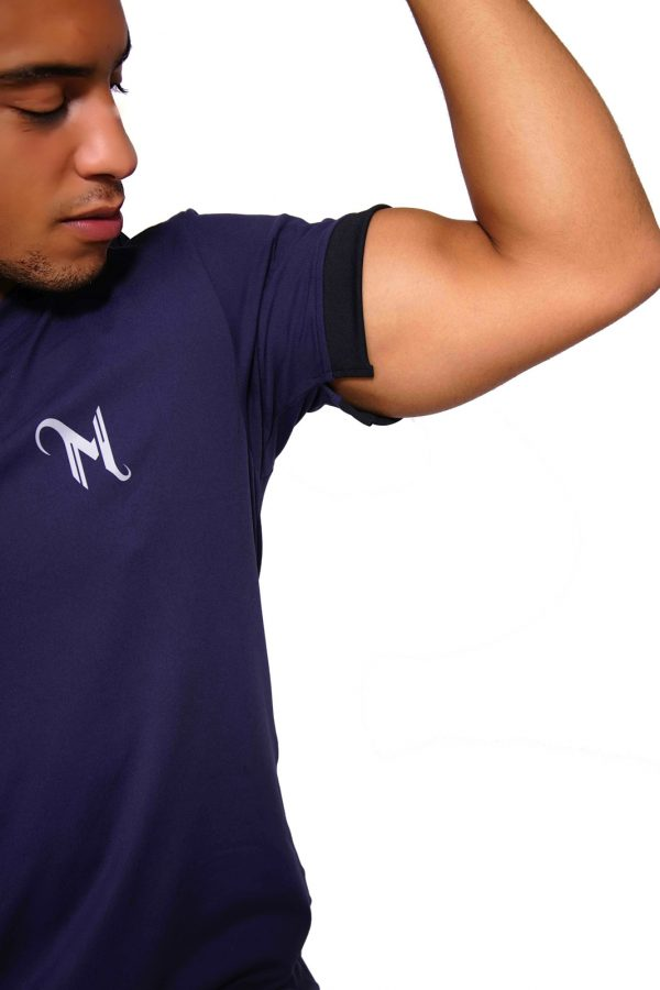 Fitness T-shirt Heren V-neck Blauw - Mfit-2