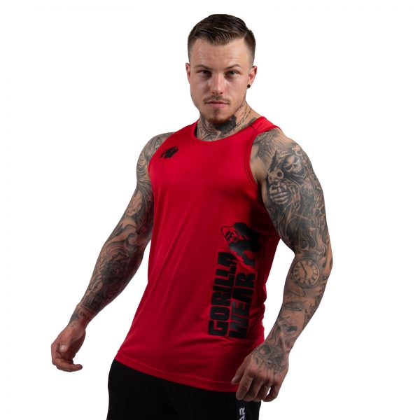 Fitness Tanktop Heren Rood - Gorilla Wear Rockford-1