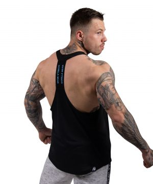 Fitness Tanktop Heren Zwart_ Lichtblauw - Gorilla Wear Nashville-2