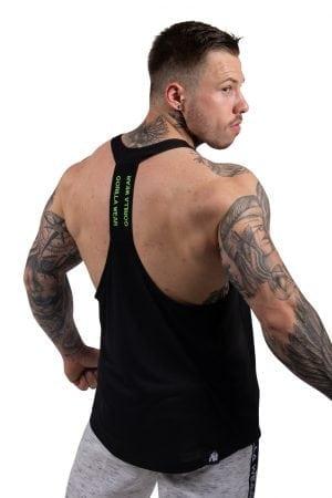 Fitness Tanktop Heren Zwart_ Neon Groen - Gorilla Wear Nashville-2