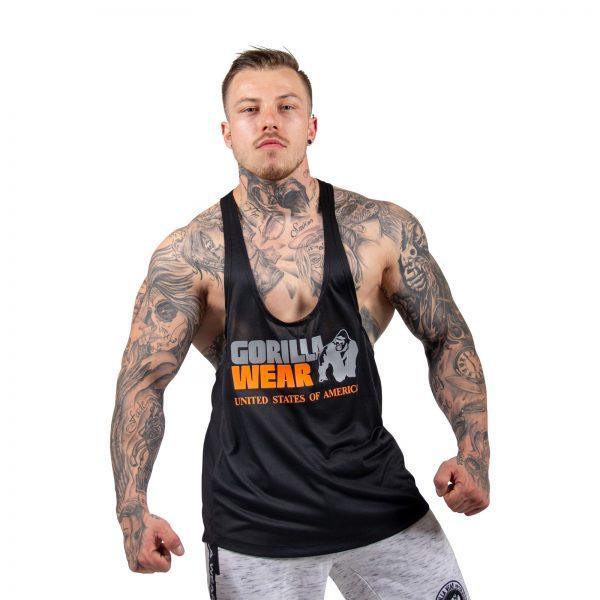 Fitness Tanktop Heren Zwart_ Neon Oranje - Gorilla Wear Nashville-1