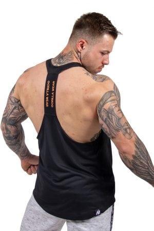 Fitness Tanktop Heren Zwart_ Neon Oranje - Gorilla Wear Nashville-2