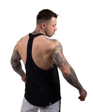 Fitness Tanktop Heren Zwart_Blauw - Gorilla Wear Nashville-1