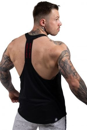 Fitness Tanktop Heren Zwart_Rood - Gorilla Wear Nashville-1