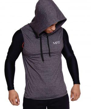 Fitness sleeveless hoodie Heren Grijs - Mfit-1