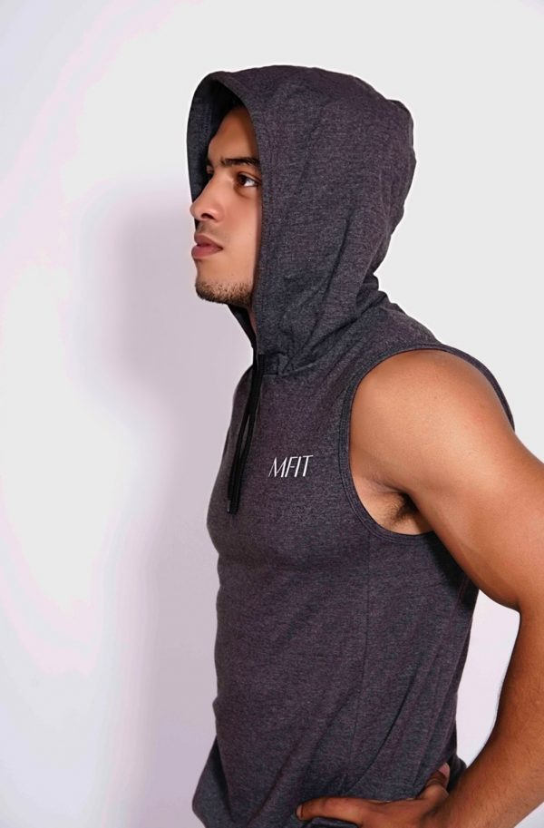 Fitness sleeveless hoodie Heren Grijs - Mfit-2