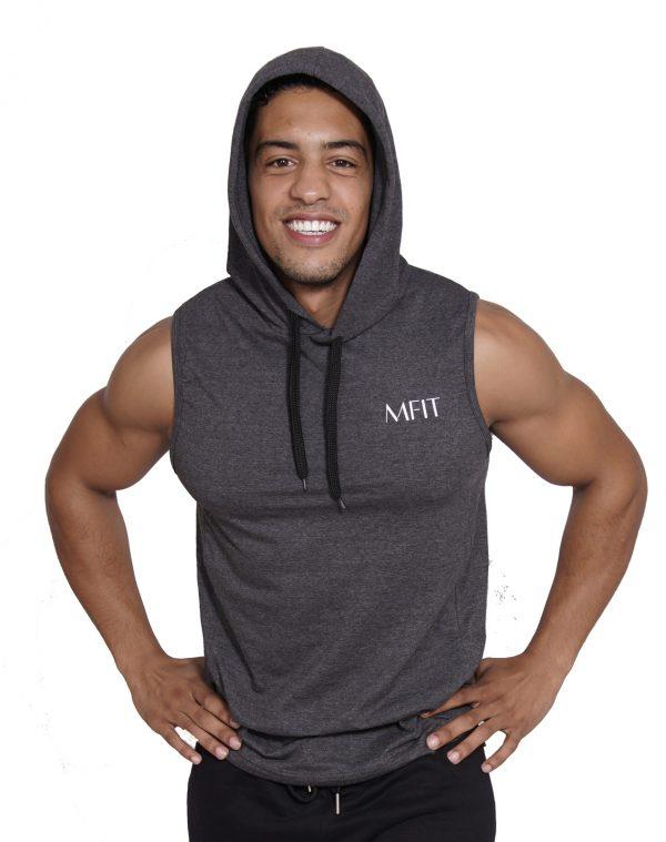 Fitness sleeveless hoodie Heren Grijs - Mfit-4