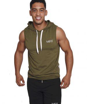 Fitness sleeveless hoodie Heren Kaki - Mfit-1